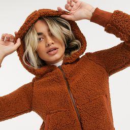 Only Petite Caroline hooded teddy zip up jacket-Black | ASOS (Global)