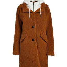 Steve Madden Women's Overcoats BROWN - Brown & White Color Block Convertible Hooded Teddy Coat - Wom | Zulily