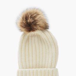 Womens Rib Knit Beanie With Large Faux Fur Pom - White - One Size | Boohoo.com (US & CA)