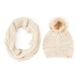David & Young Women's Cold Weather Scarves Taupe - Taupe Rib-Knit Infinity Scarf & Pom-Pom Beanie | Zulily