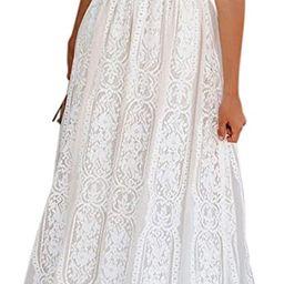 Bdcoco Women's V Neck Floral Lace Wedding Dress Short Sleeve Bridesmaid Evening Party Maxi Dress | Amazon (US)