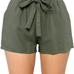 Women's Casual Loose Paper Bag Waist Shorts with Bow Tie Belt Pockets   Amazon (US)