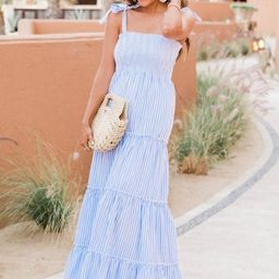 CAITLIN COVINGTON X PINK LILY The Santorini Striped Blue/White Maxi Dress | The Pink Lily Boutique