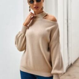 Strick Pullover mit Ausschnitt und sehr tief angesetzter Schulterpartie   SHEIN