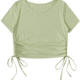 Milumia Women Casual Ribbed Short Sleeve Crop Tee Top Ruched Drawstring Side T Shirts   Amazon (US)