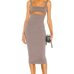 h:ours Dahlia Midi Dress in Charcoal from Revolve.com | Revolve Clothing (Global)