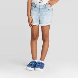 Toddler Girls' Lace Hem Jean Shorts - Cat & Jack™ Light Wash   Target