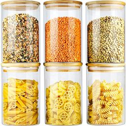 Glass Jars with Bamboo Lids EcoEvo, Glass Food Jars and Canisters Sets, 6 Pack of 26oz | Amazon (US)
