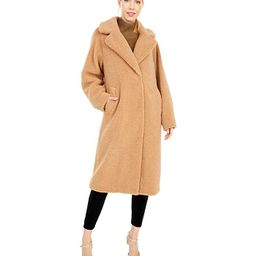 Calvin Klein Oversized Plaid Wool Coat with Button Closure (Camel) Women's Coat | Zappos