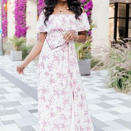One Dance Floral Maxi Ivory Dress   The Pink Lily Boutique