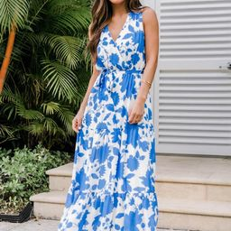 Ocean Sunset Floral Blue Maxi   The Pink Lily Boutique