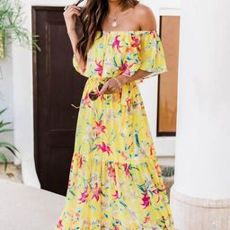 Sweet Southern Kiss Floral Yellow Maxi   The Pink Lily Boutique