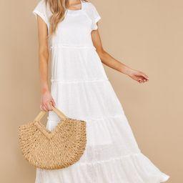 Perfect Record White Knit Maxi Dress   Red Dress