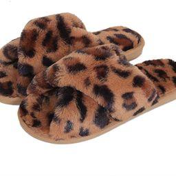 Fericzot Women's Fuzzy Fluffy Furry Fur Slippers Flip Flop Winter Warm Cozy House Memory Foam San... | Amazon (US)