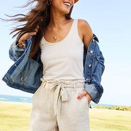 High-Waisted Tie-Belt Linen-Blend Shorts for Women -- 4-inch inseam | Old Navy (US)