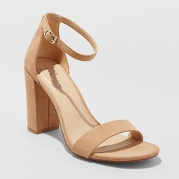 Women's Ema Wide Width High Block Heel - A New Day Taupe 10W, Brown | Target