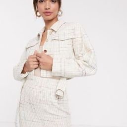 ASOS DESIGN exaggerated sleeve boucle suit blazer with pocket detail | ASOS (Global)