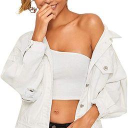 Floerns Women's Casual Ripped Frayed Hem Long Sleeve Denim Jacket   Amazon (US)