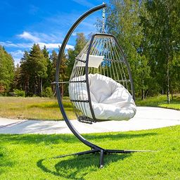 Barton Luxury Wicker Hanging Chair Swing Chair Patio Egg Chair UV Resistant Soft Deep Fluffy Cush... | Amazon (US)