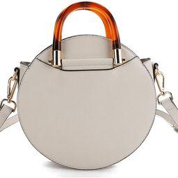 Round Crossbody with Tortoiseshell handle, Vegan Leather Canteen Satchel, Fashion Purse Bag for W...   Amazon (US)