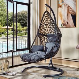 Sheppard Swing Chair with Stand Arlmont & Co. Color: Black/Gray | Wayfair North America