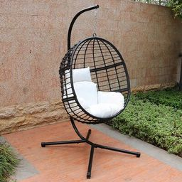 Jaylyn Swing Chair with Stand Bayou Breeze Color: Black/White   Wayfair North America