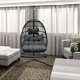 Four Corners Swing Chair with Stand IML Tecknology INC Color: Dark Gray   Wayfair North America