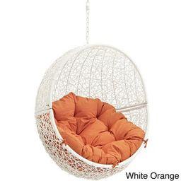 Cloak Outdoor Patio Swing Chair (white orange) | Overstock