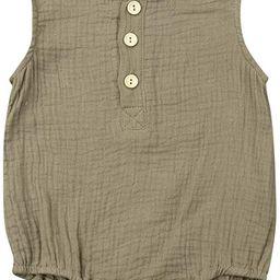 KMBANGI Newborn Baby Girl Boy Linen Outfit Sleeveless Romper Jumpsuit One-Piece Bodysuit   Amazon (US)