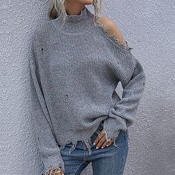 NXH Women's Turtlenecks Gray - Gray Distressed Cold-Shoulder Turtleneck - Women   Zulily