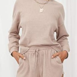 Women's Waffle Knit Long Sleeve Top and Shorts Pullover Nightwear Lounge Pajama Set with Pockets   Amazon (US)