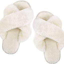 Slippers for Women,Cross Band Soft Plush Fleece Slip On House Open Toe Slippers Indoor Outdoor   Amazon (US)