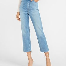 Super High Waisted Faded Raw Hem Straight Jeans   Express