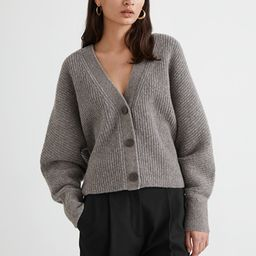Voluminous Wool Blend Rib Knit Cardigan | & Other Stories