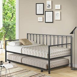 Giantex Twin Size Daybed and Trundle Frame Set, Trundle Bed with 4 Casters, Premium Metal Slat Su... | Amazon (US)