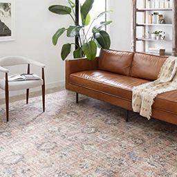 "Loloi ll Skye Collection Printed Distressed Vintage Area Rug, 5'-0"" x 7'-6"", Blush/Grey | Amazon (US)"