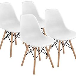 Yaheetech Dining Chairs Modern Pre Assembled Chairs Side Shell Eiffel DSW Chairs with Beech Wood ... | Amazon (US)
