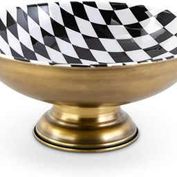 K&K Interiors 16919D-2 5.25 Inch Brass Metal Container with Black and White Harlequin   Amazon (US)