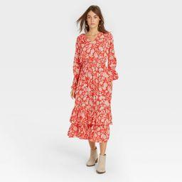 Women's Floral Print Balloon Long Sleeve Ruffle Collar Dress - Universal Thread Red XS   Target