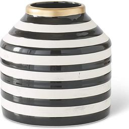 K&K Interiors 16489A-1 5.25 Inch Black and White Stripe Ceramic Vase with Gold Top   Amazon (US)