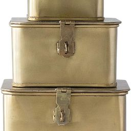 Creative Co-Op Square Decorative Metal Boxes with Gold Finish (Set of 3 Sizes)   Amazon (US)