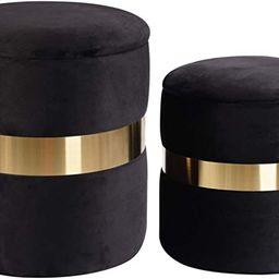 DEERUN Round Velvet Storage Ottoman Foot Rest Stool/ Upholstered Footstool/ Side Table Seat Make ...   Amazon (US)