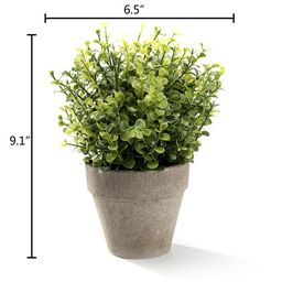"""Mini Faux Topiary Plant 9"""" Artificial Green Plastic Grass with Pot for Home Decor   Walmart (US)"""