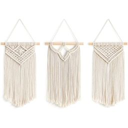 Golden Home Small Macrame Wall Hanging 3 Pack Art Woven Wall Decor Boho Chic Home Decoration for ...   Walmart (US)