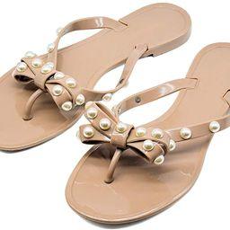 Qilunn Women Big Bow Flip Flops Jelly Thong Sandals Rubber Flat Summer Beach Rain Shoes | Amazon (US)