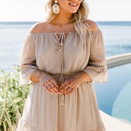 Stolen Dreams Off The Shoulder Taupe Dress   The Pink Lily Boutique