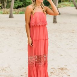 Never In A Hurry Coral Maxi Dress   The Pink Lily Boutique