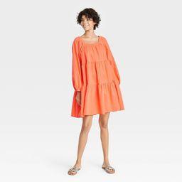 Women's Puff Long Sleeve Tiered Dress - Universal Thread™   Target