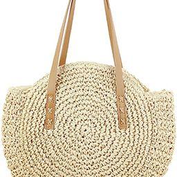 Straw Handbags Women Handwoven Round Corn Straw Bags Natural Chic Hand Large Summer Beach Tote Wo... | Amazon (US)