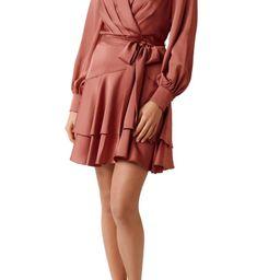 Ever New Mikayla Long Sleeve Satin Wrap Minidress   Nordstrom   Nordstrom